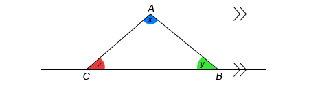 GCSE Mathematics Revision - Image of Triangle 180 Degree Proof - 1